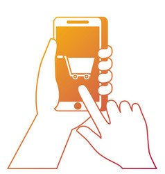 hand holding smartphone shopping cart online vector image