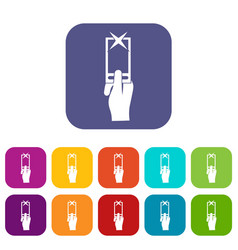Hand photographs on smartphone icons set vector