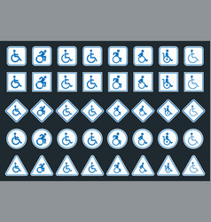 handicap sign set disabled icons vector image