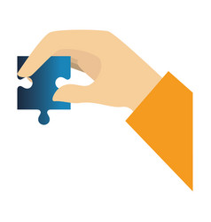 Hands human with puzzle game pieces isolated icon vector