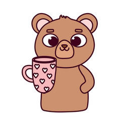 happy valentines day cute bear with coffee cup vector image