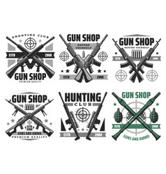 hunting ammo and gun shop icons vector image