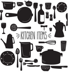 Kitchen items silhouette vector
