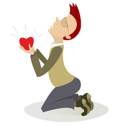Kneeling man and heart symbol isolated vector
