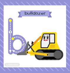 Letter b lowercase tracing bulldozer vector
