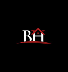 letter bh roofing property creative business logo vector image