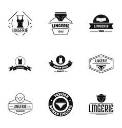 Linen logo set simple style vector
