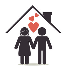 lovers couple on house silhouette characters vector image