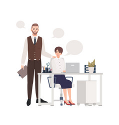 Man and women working together office workers or vector