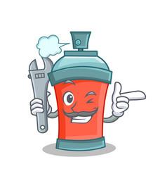 Mechanic aerosol spray can character cartoon vector
