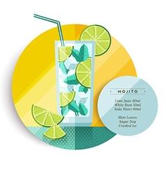 Mojito cocktail drink recipe design in flat art vector image