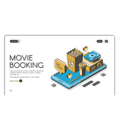 movie booking landing page entertainment banner vector image