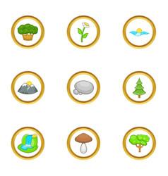 nature icon set cartoon style vector image
