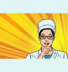 Nurse asks for silence gesture finger to lips vector