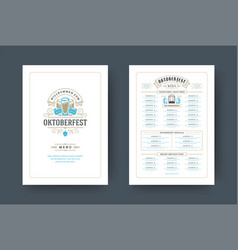 oktoberfest menu vintage typography template vector image