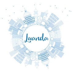 Outline luanda skyline with blue buildings vector