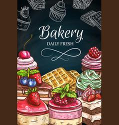 Pastry desserts blackboard cake chalk sketches vector