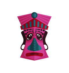 Pink zulu mask with traditional ornaments ethnic vector