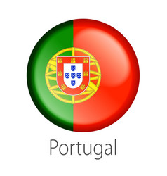 Portugal round button flag vector