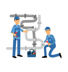 Proffesional plumber men characters repairing and vector
