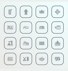 public skyline icons line style set with fountain vector image
