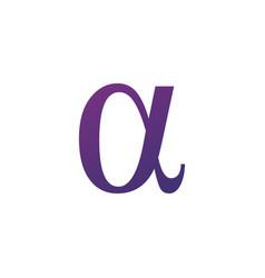 Purple alpha greek letter symbol or logo stock vector