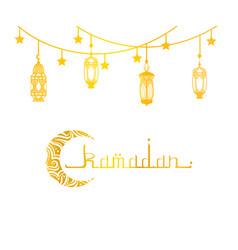 ramadan mubarak and kareem greeting card golden vector image
