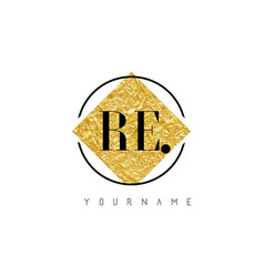 Re letter logo with golden foil texture vector