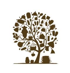 Russian sauna art tree sketch for your design vector