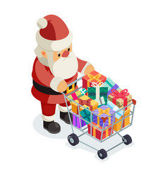 santa claus isometric 3d shopping cart purchase vector image