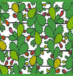 seamless pattern with green prickly pear cactus vector image