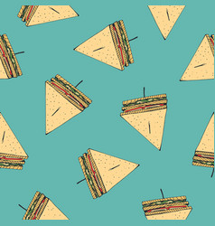 Seamless pattern with tasty club sandwiches vector