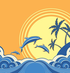 Seascape poster with dolphins vector image