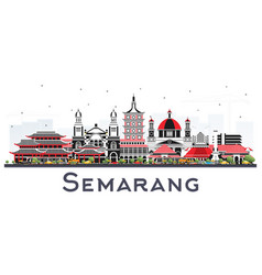 Semarang indonesia city skyline with color vector
