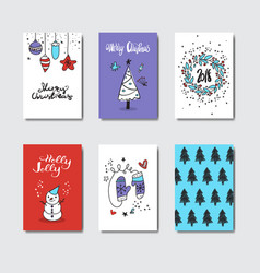 set of cute doodle greeting cards christmas vector image