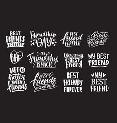 Set of friends and friendship phrases handwritten vector