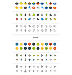 set of icons in different style - isometric flat vector image