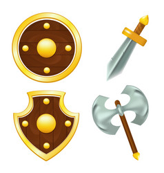 set of wooden shields sword and axe vector image