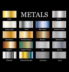 Set realistic metallic gradients vector