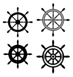 set ship steering wheel in monochrome style vector image