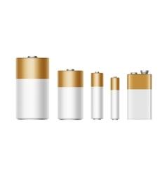 Set white golden batteries different size vector