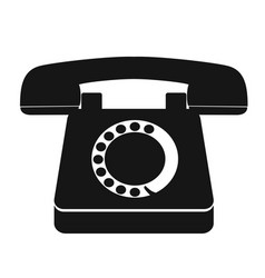 single black old vintage telephone icon vector image