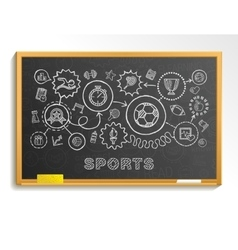 Sport hand draw integrated icons set on school vector image