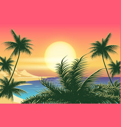 Sunset tropical landscape vector