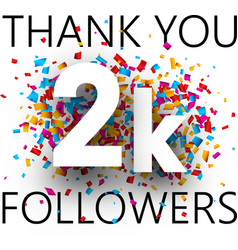 Thank you 2k followers card with colorful vector