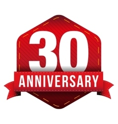 Thirty year anniversary badge with red ribbon vector