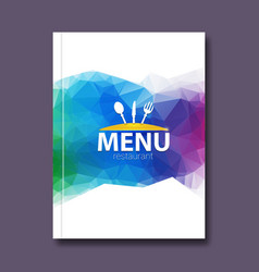 Trendy triangular restaurant menu design cover vector image