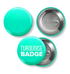 turquoise badge mockup pin brooch vector image