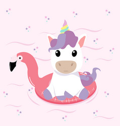 unicorn summer flamingo float swimming pool ring vector image