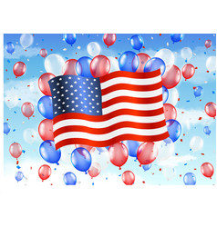 united state america flag with balloon on sky vector image